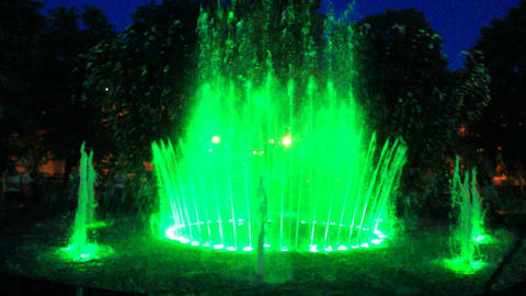 Colored Fountains In City Park stock footage