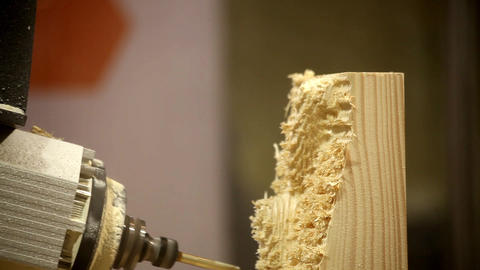 Close-up Wooden Processing. Units Can Perform A Wide Range Of Machining Operatio stock footage