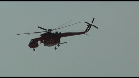 fire (firefighting) helicopter and chinook with water bucket (2 footage in 1) Footage