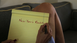 New Years Resolutions List stock footage