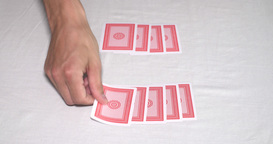 Hands On A Poker Table Shuffling A Deck Of Cards And Dealing stock footage