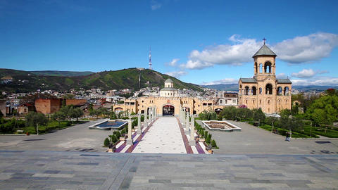 Main Entrance In Eastern Orthodox Tsminda Sameba Cathedral In Tbilisi, Georgia stock footage