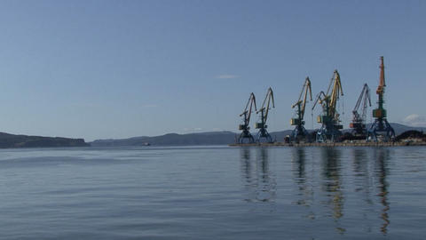 Port Of Kamchatka. Port Cranes. Avacha Bay stock footage
