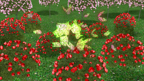 flying butterfly on a nice garden Animation