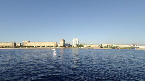 Shipping Traffic On The River Neva stock footage