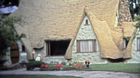 VICTORIA, BC - 1972: Old country settler house tourist attraction in British Col Footage
