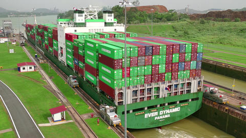 Freighter Boat Ship Containers Global Commerce Worldwide Panama Canal Footage