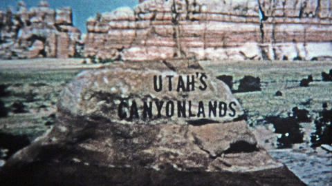 1971: Utah canyonlands old style analog title credit Footage