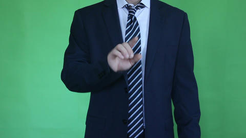Businessman Touch Screen On Green Screen stock footage