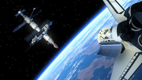 Space Station And Space Shuttle Animation