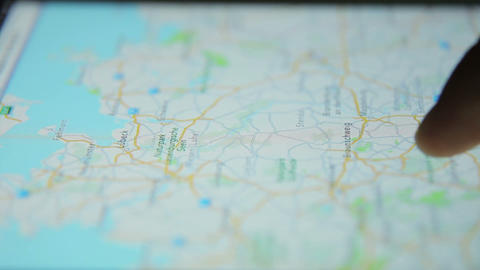Surfing Internet Map Tablet Close Up 07 stock footage