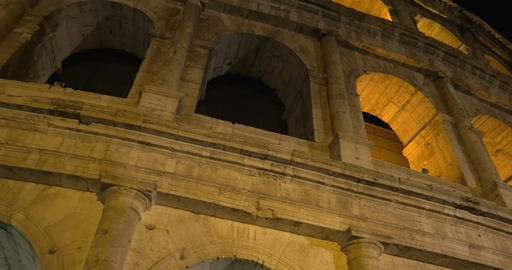 Famous Roman Sight Coliseum At Night stock footage