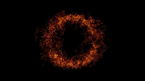 The particles are emitted in the form of rings Animation