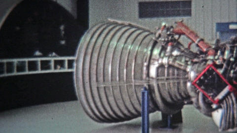 1971: Cape Canaveral Space Shuttle Real Engines Museum Display stock footage