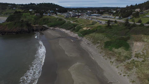 Aerial View Of Battle Rock In Port Orford Oregon stock footage