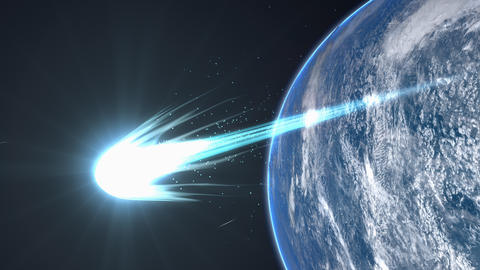 Comet Flyby Earth, Close Up, Asteroid, Beautiful, Bright, Meteor, Sungrazer stock footage