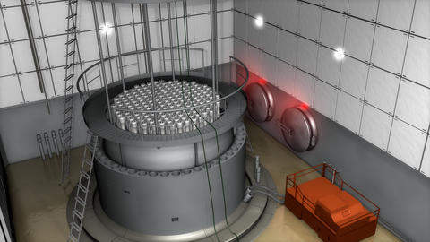Nuclear Reactor Interior View, Modern High End Sefety Measures stock footage