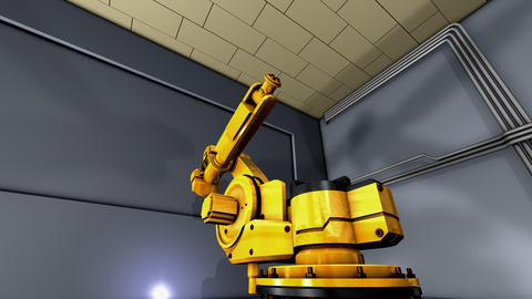Artist Creation Heavy Industry Robotic Arm Exibition stock footage
