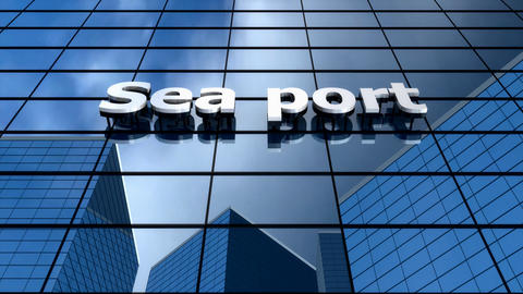 Sea Port Building Blue Sky Timelapse stock footage