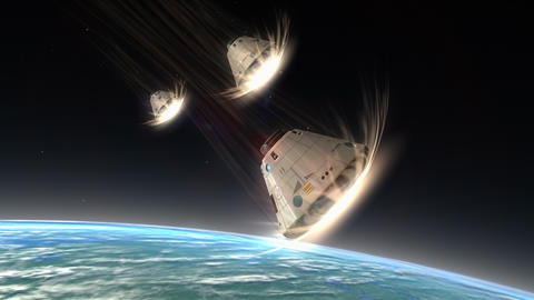 Multiple space capsules descending, module, science, space, technology Animation