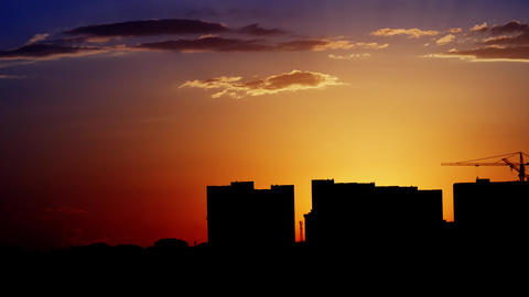 Hot Sunset Over Industrial Buildings Footage