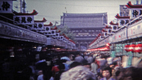 1972: Journey to the popular smoke temple through the crowds Footage