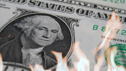 Flames On Dollar stock footage