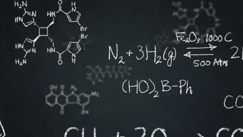 Chemistry Formulas And Structures Floating On A Chalkboard stock footage