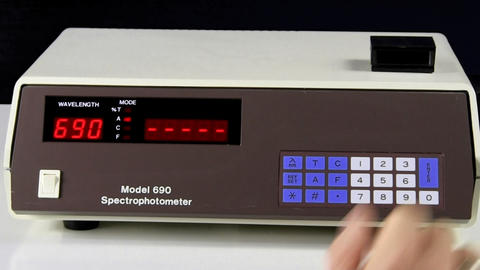 Enter Wavelength With Keypad Into Spectrophotometer With Alpha Chroma Key Channe stock footage