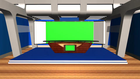 Virtual Studio News Room Broadcast Television Footage