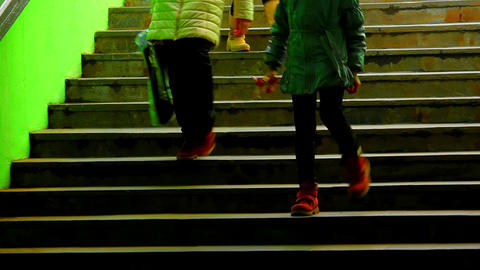 1080p Three Girls On Dark Green Staircase stock footage