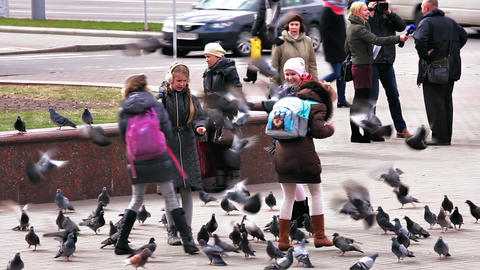 Girls Feed Birds On City Square stock footage