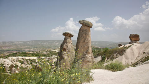 Cappadocia, rocks in the form of stone mushrooms Footage
