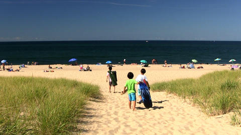 Asian Family Hit The Beach On Cape Cod stock footage