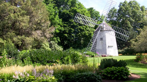 Old East Windmill At Heritage Plantation Sits Amongst The Beautifully Landscaped stock footage