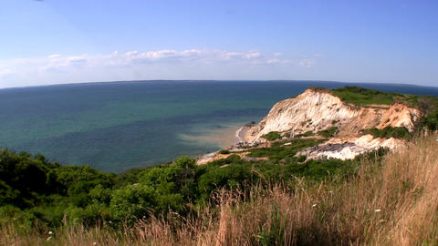 Colorful Clay Cliffs Of Gay Head Aquinnah From Observation Deck On Martha's Vine stock footage