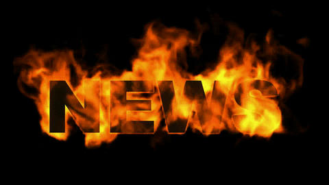news word,fire text Animation