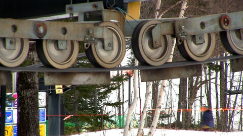 Ski lift cable pulleys Footage