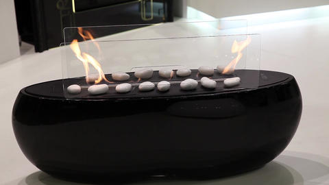 Modern artificial fireplace in living room interior Footage