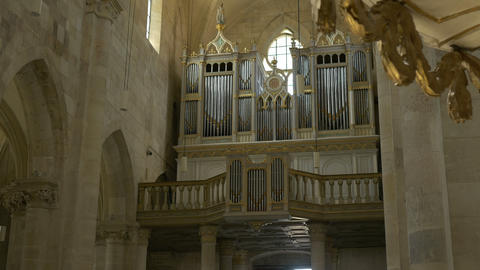 Large Church Pipe Organ stock footage