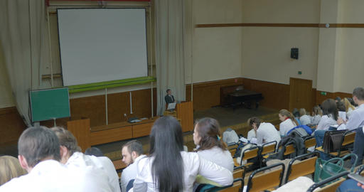 Lecture In Auditorium Of Medical University stock footage
