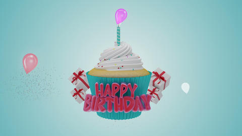 Happy Birthday Cup Cake stock footage