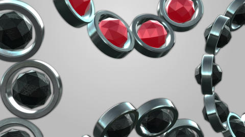 Rolling metal tubes and polyhedron spheres black and red Animation