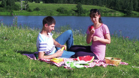 Happy Couple Have Picnic Outdoor stock footage
