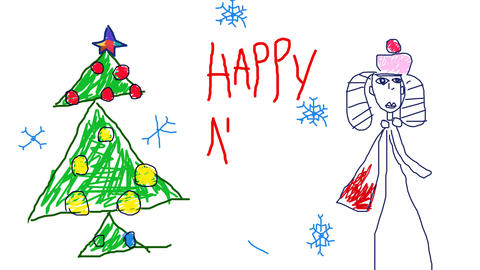 child's drawing new year card Animation
