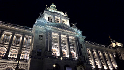 Prague National Museum - Exterior - Front Part - Night stock footage