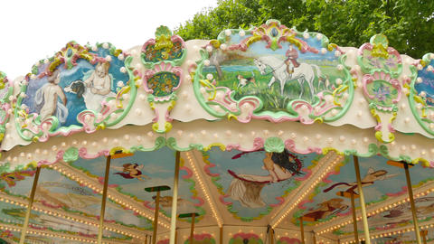 Classical Pretty Fairground Carousel In France stock footage