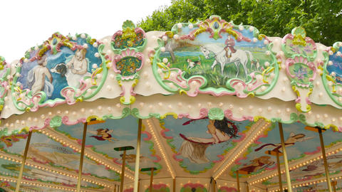 Classical Pretty Fairground Carousel In France 4k stock footage
