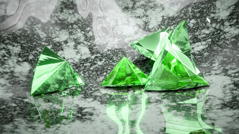 Green trillion cut diamonds falling and rolling down Animation