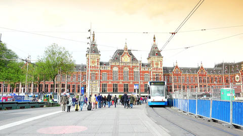AMSTERDAM, NETHERLANDS :Amsterdam Central Train Station ;ULTRA HD 4k, real time Footage